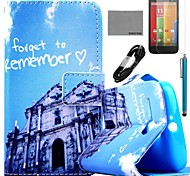 COCO FUN® Blue Buliding Pattern PU Leather Full Body Case with Film and USB Cable and Stylus for Motorala Moto G