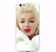 Red Lips Marilyn Monroe Wears White Coat Pattern PC Hard Back Cover Case for iPhone 6