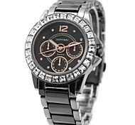 Woman Ladies Round Black Dial Ceramic Black Watchband Water Resistant Quartz Watch FW830L