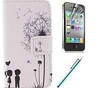 The Dandelion Lover Design PU Full Body Case with Card Slot and Stand for iPhone 4/4S