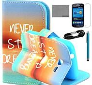 Coco fun® padrão sunrise estojo de couro pu com filme e cabo USB e caneta para samsung tendência Lite 7390/7392