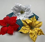 Gold Silver Red Artificial Poinsettia Flower Head 10 Pieces/Lot for Chiristmas Decoration