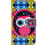 Cute Owl And Folk Style Pattern PU Leather Full Body Case for iPhone 4/4S