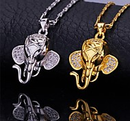 U7® Cute Elephant Pendant Necklace 18K Real Gold Platinum Plated Cubic Zirconia Necklace Fashion Jewelry