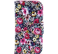Red Floral Pattern PU Leather Case and Mini Display Stand with Diamond Dust Plug for iPhone 4/4S