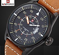 Men's Sports Watch Waterproof Dress Quartz Wrist Watch Real Leather Band Japan 2035 Movt (Assorted Colors)