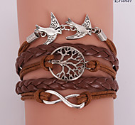 braccialetto eruner®leather albero uccelli lega multistrato amare la vita e l'infinito mano