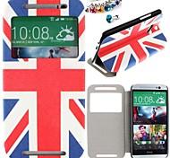 el caso del patrón de bandera británica cuero de la PU de cuerpo completo y el enchufe a prueba de polvo para un htc (M8)