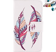 Feather Pattern PU Leather Full Body Case with Card Slot And Stand with Dustproof Plug for Nokia Lumia N630