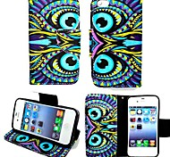 KARZEA™Blue Eyes PU Leather TPU Back Painting Card Holder Wallet Case with Oval Buckle for iPhone 4/4S