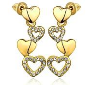 Klassiker copular Herz-Tropfen goldenen vergoldeten Ohrringe (goldenen) (1 Paar)
