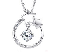 The Korean Style 925 Sterling Silver Star Pendant Necklace Contains Water Wave Chain