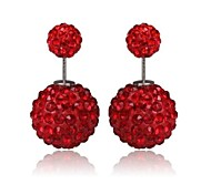 Women's Classic Fashion Crystal Ball Earrings Sterling Silver Earrings