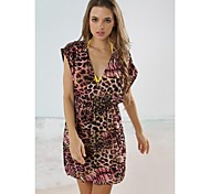 Women's Fashion Pink&Coffee Leopard Deep-v Bikini Swimwear Swimsuit Beach Cover-up Mini Dress