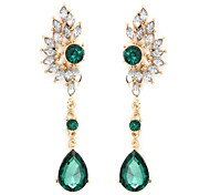Brand White Teardrop Crystal Big Earrings for Women Imitated Gemstone Jewelry Brincos Grandes Coupon