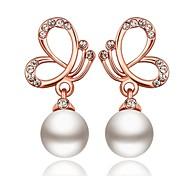 classiques papillon et perle goutte or rose rose boucles d'oreilles plaqué or (or rose) (1 paire)