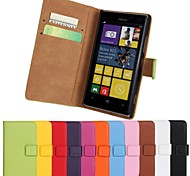Solid Color Pattern Genuine Leather Full Body Case with Stand and Card Slot for Nokia Lumia 925