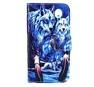 Wolf Muster 4,3-Zoll-PU-Mappenledertasche für Samsung Galaxy Core-Plus-G3500