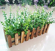Eucalyptus Leaf + 30cm Charcoal Fence with Fake Silk Flowers ,Plastic