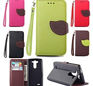 Leaves PU Leather Full Body Case with Card Slot, Stand and Strap for LG Optimus G3 Mini D725 (Assorted Colors)