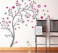 Romantic Pink Floret Tree Wall Stickers