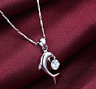 Women's Silver Crystal Dolphin Pendant Necklace