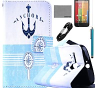 COCO FUN® Anchor Compass Pattern PU Leather Full Body Case with Film and USB Cable and Stylus for Motorala Moto G