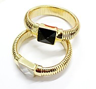 Punk Style Luxurious Square Glass Diamond 18K Gold Plated Elastisches Armband Bracelet (1pc, Black / White)