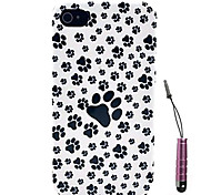 Bear Footprints Pattern Hard Case & Touch Pen for iPhone 4/4S