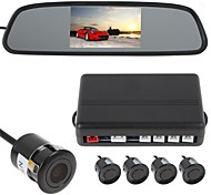 4 Sensors Car Parking Sensor Auto Reverse Radar Detector System with Rear View Mirror Monitor (Buzzer, Rear View Camera)