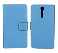 Solid Color Pattern Genuine Leather Full Body Case with Stand and Card Slot for Sony Xperia S Lt26i