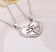 Broken Heart 2 Parts Pendant Necklace Best Friend Necklace (2 pcs / set)