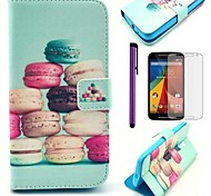 Colorful Cake Pattern PU Leather Case with Screen Protector and Stylus for Motorola Moto G2