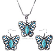 Sapphire Butterfly Necklace Earrings Set