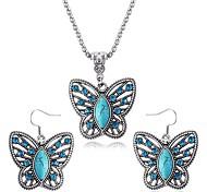 Sapphire Butterfly Necklace Earrings Set