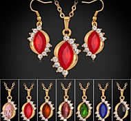 U7® 18K Gold Plated Rhinestone CZ Diamond Pendant Necklace Dangle Earrings Luxurious Fashion Jewelry Set