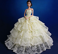 Barbie Doll Bright Yellow Multi-layered Wedding Dress