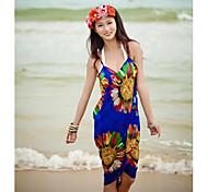 Women's Fashion Sexy Sunflower Chiffon Deep-v Swimwear Swimsuit Bikini Cover-up Beachdress
