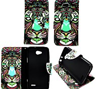 KARZEA™ Colorful Lion PU Leather TPU Back Painting Card Holder Wallet Case with Oval Buckle for LG Optimus L90 D405