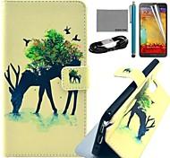 caso padrão floresta girafa couro pu Coco fun® com filme e stylus e cabo usb para samsung galaxy note 3