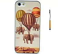 The Elephants And Hot Balloons Pattern PC Hard Back Cover Case with Touch Pen for iPhone 5/5S