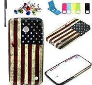 patrón de la bandera americana Caso de la cubierta suave de TPU con el soporte y el enchufe del polvo y el lápiz óptico para Nokia Lumia N630 n635