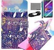Coco Fun® patrón de flores de color amarillo caja de cuero de la PU con el cine y cable usb y el lápiz para Samsung Galaxy Note 4