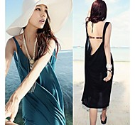 Women's Fashion Sexy Backless Solid Cotton Swimwear Swimsuit Holiday Beach dress Bikini Cover Up