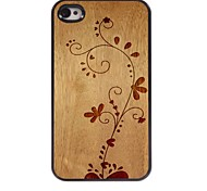 Wooden Design The Flower Pattern Aluminum Hard Case for iPhone 4/4S