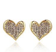 Mode Kristall Herz golden vergoldeten Ohrstecker (goldenen) (1 Paar)