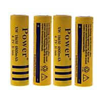 4800mah poder 4.2v 18650 batería de iones de litio recargable (4pcs)