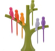 NEJE Bird On The Tree Shape Birdie Fruit Fork Holder Set