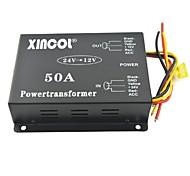 xincol® veículo carro dc 24v para 12v 50a conversor transformador de alimentação com dupla regulação fã-negro