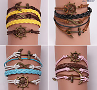 Eruner®Leather Bracelets Multilayer Alloy Anchor and Infinite Handmade Bracelets